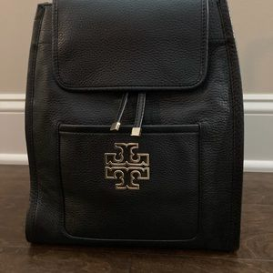 Tory Burch Britten Black Pebbled Leather Backpack